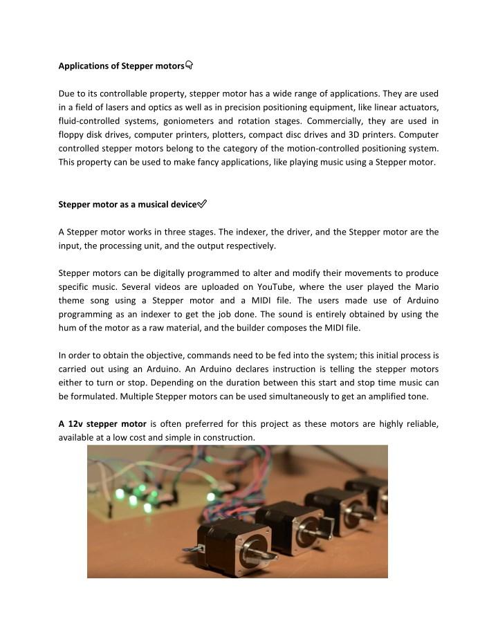 Applications of Stepper motors?