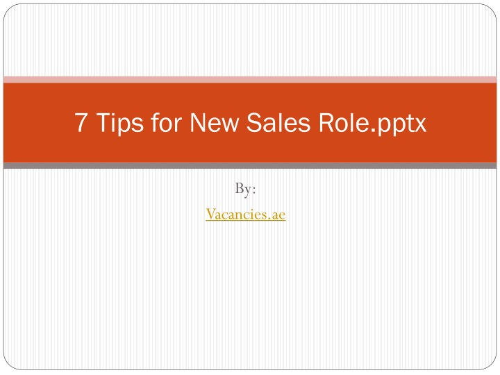 7 tips for new sales role pptx n.