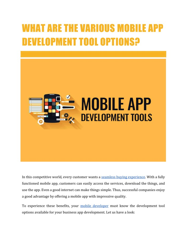 what are the various mobile app development tool n.