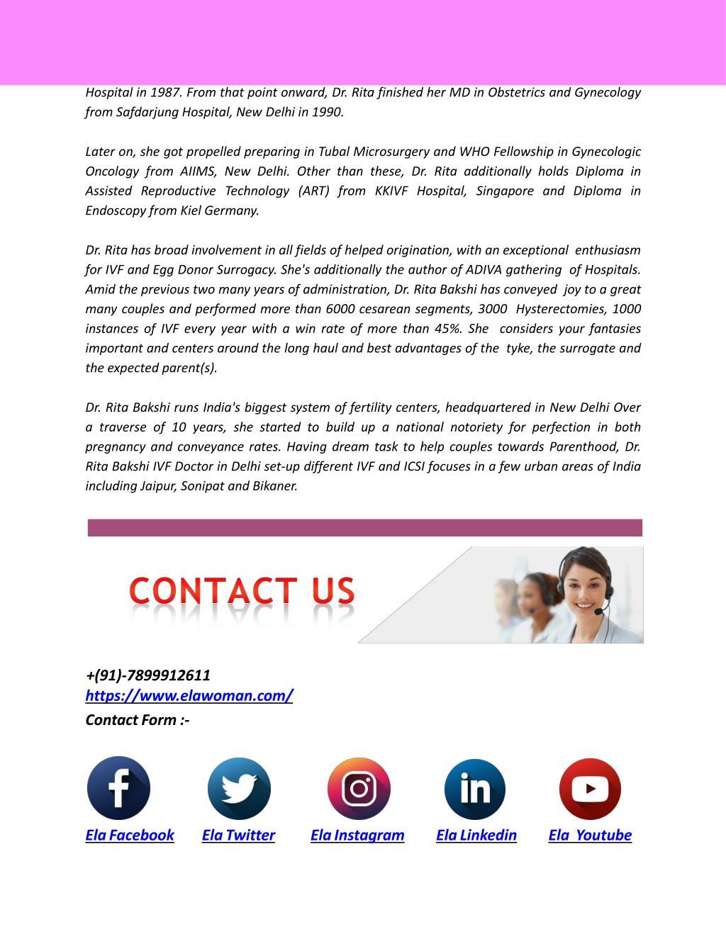 PPT - Top IVF Doctors in Delhi Ncr   Dr  Rita Bakshi   ElaWoman