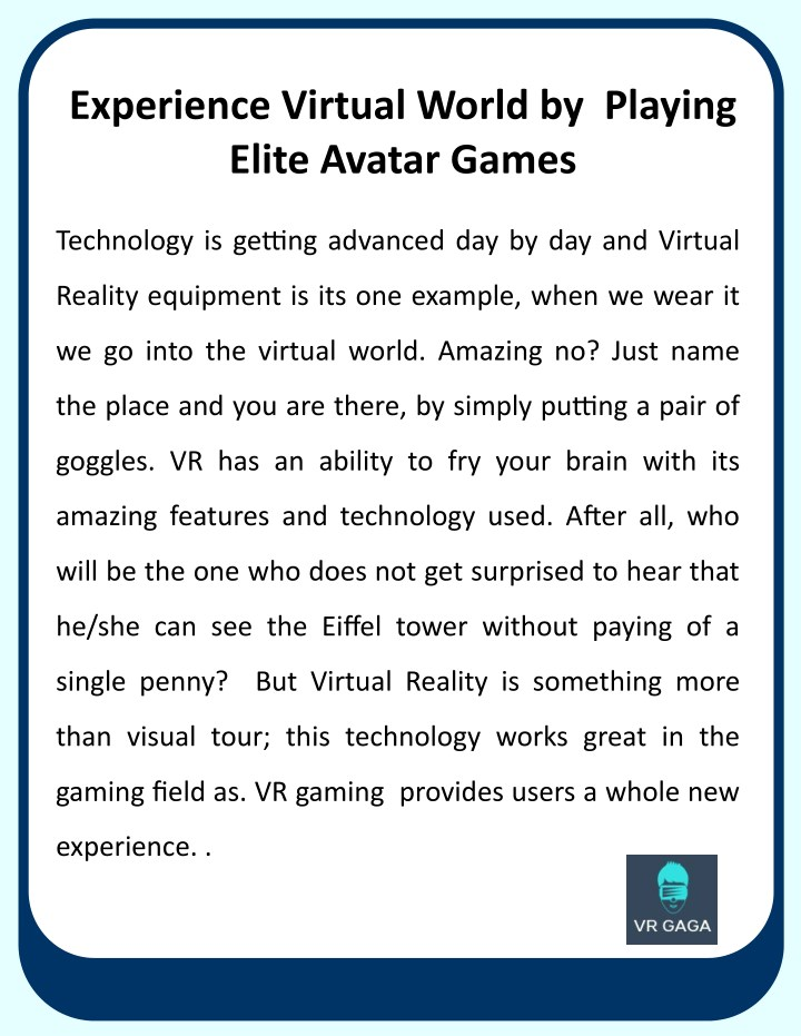 experience virtual world by playing elite avatar n.