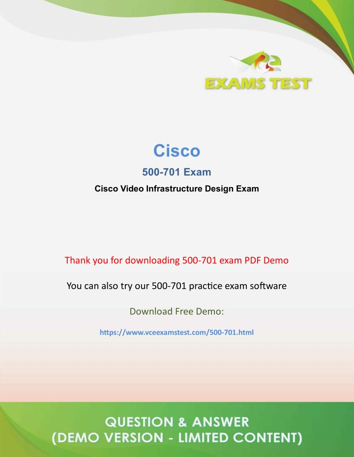 PPT - Get Cisco 500-701 VCE Exam PDF 2018 - [DOWNLOAD and