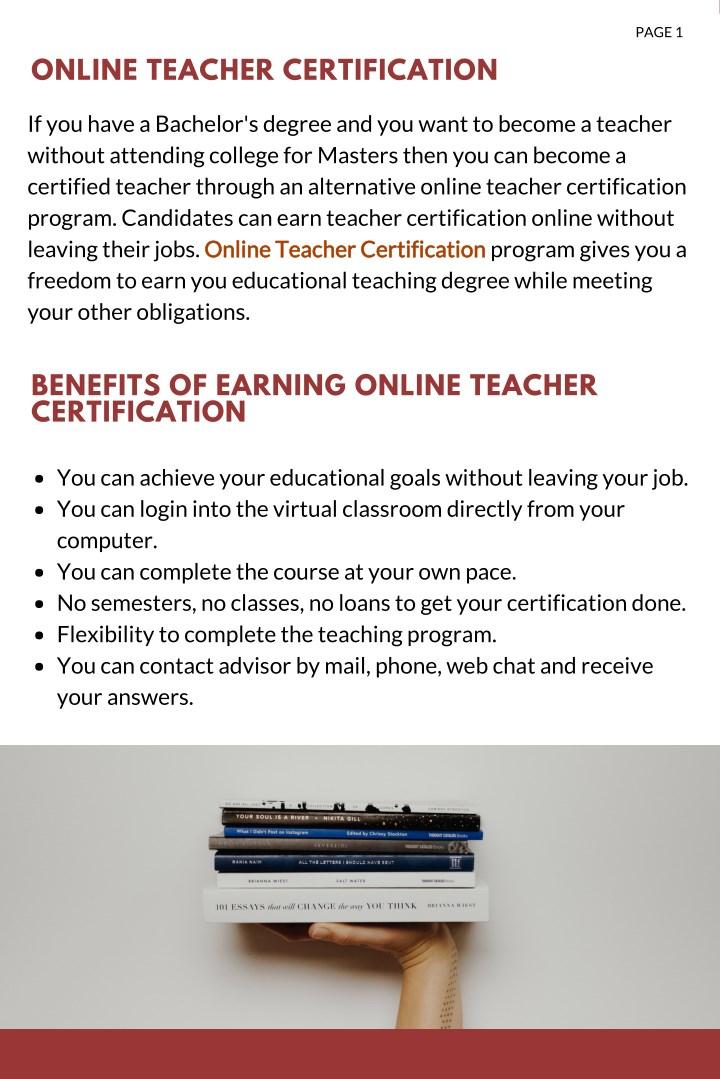 Ppt Online Teacher Certification Powerpoint Presentation Id7932522