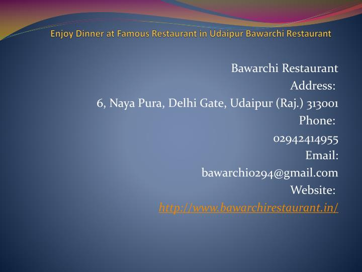 enjoy dinner at famous restaurant in udaipur bawarchi restaurant n.