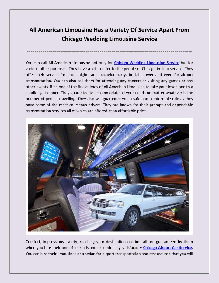 all american limousine has a variety of service n.