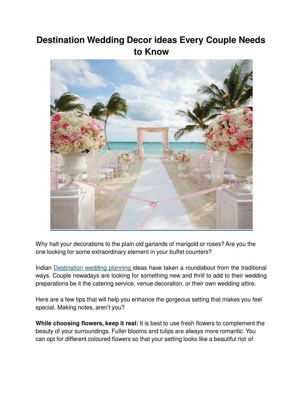 Ppt Destination Wedding Decor Ideas By Behind The Scene Powerpoint