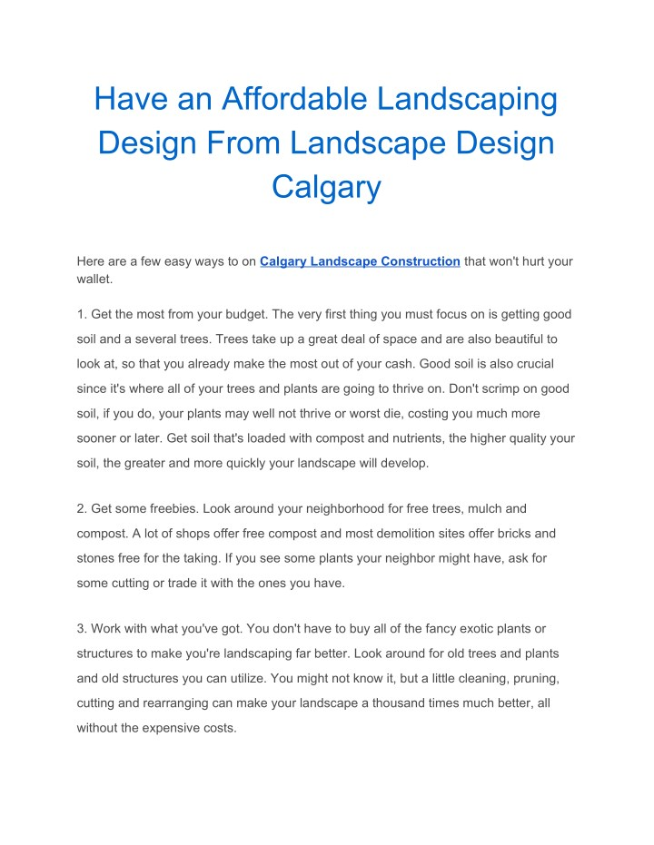 have an affordable landscaping design from n.