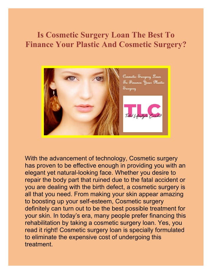 PPT - Cosmetic Surgery Loan To Finance Your Plastic Surgery