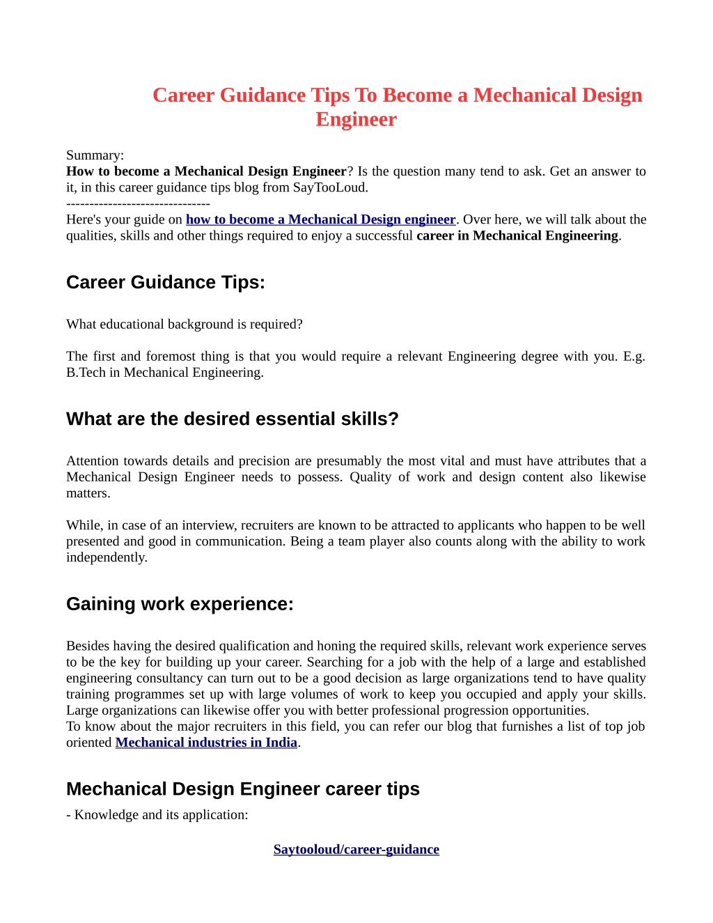 Ppt Career Guidance Tips To Become A Mechanical Design Engineer Powerpoint Presentation Id 7935221