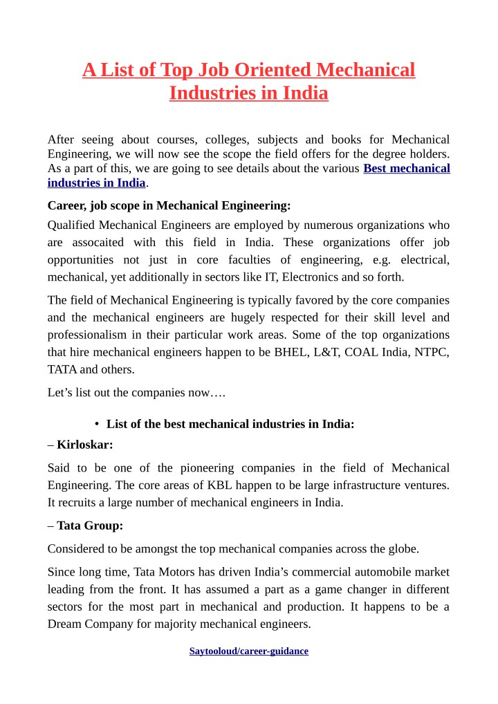 PPT - A List of Top Job Oriented Mechanical Industries in