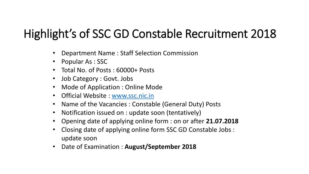 PPT - SSC GD Constable Recruitment 2018 Apply for 60,000