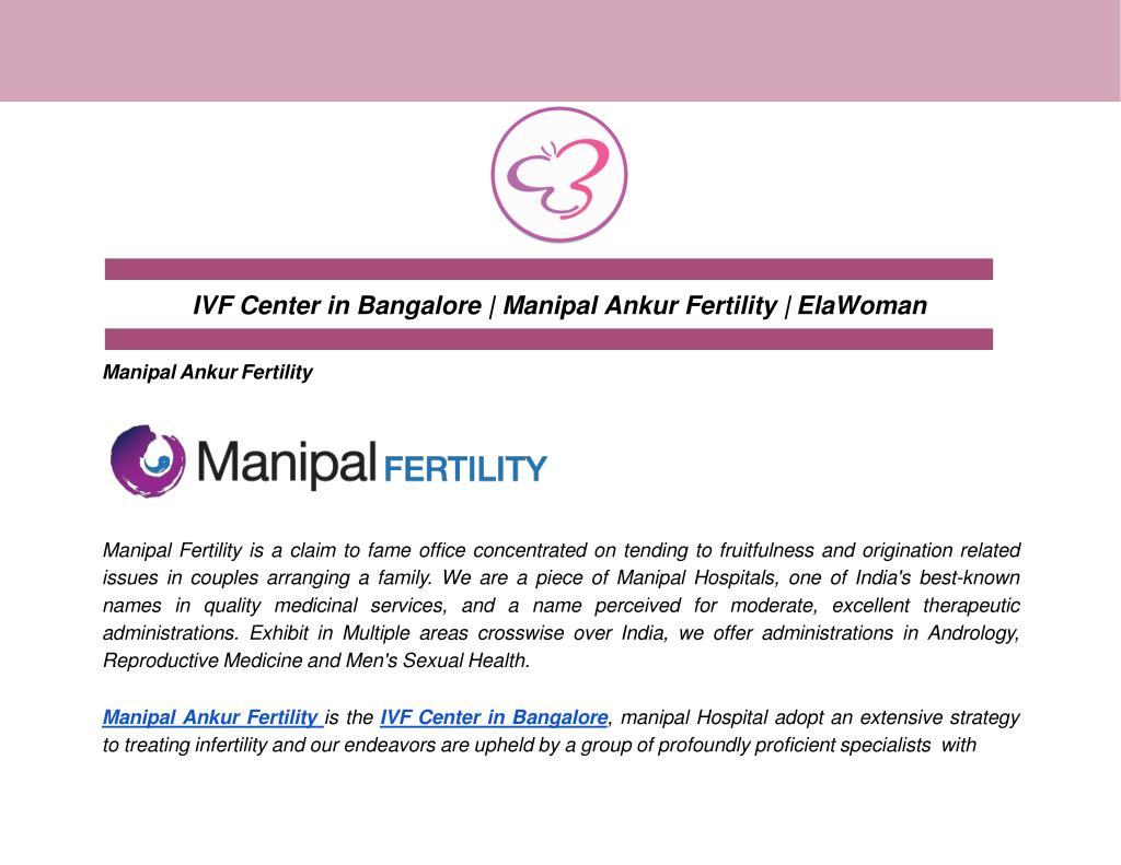 PPT - IVF Center in Bangalore | Manipal Ankur Fertility