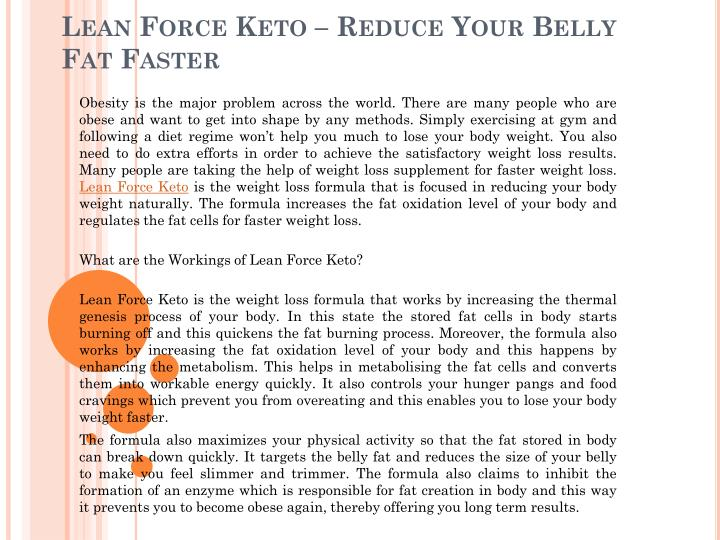 lean force keto reduce your belly fat faster n.
