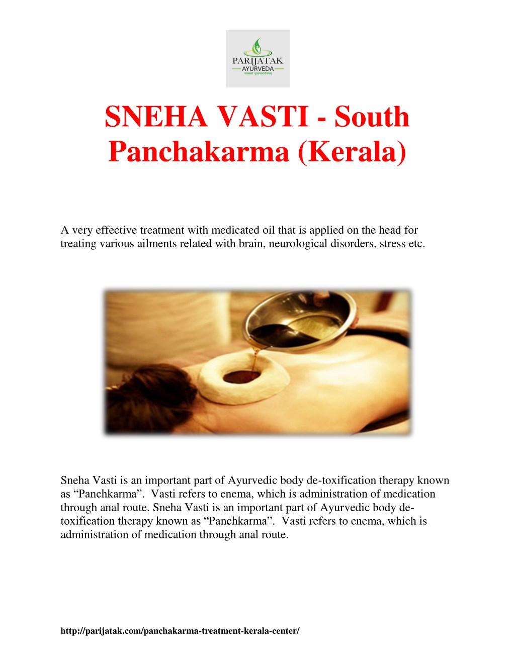 PPT - SNEHA VASTI - South Panchakarma (Kerala) PowerPoint
