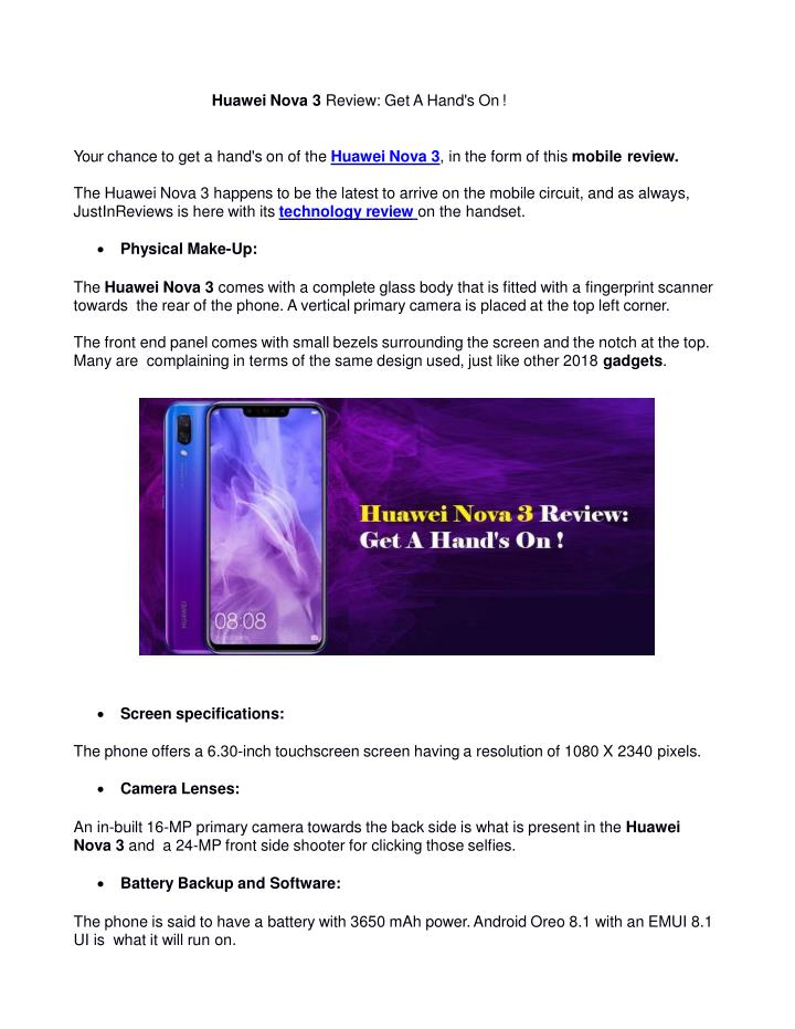PPT - Huawei Nova 3 Review: Get A Hand's On ! PowerPoint