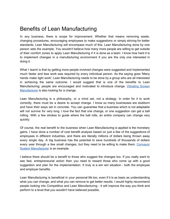 benefits of lean manufacturing n.