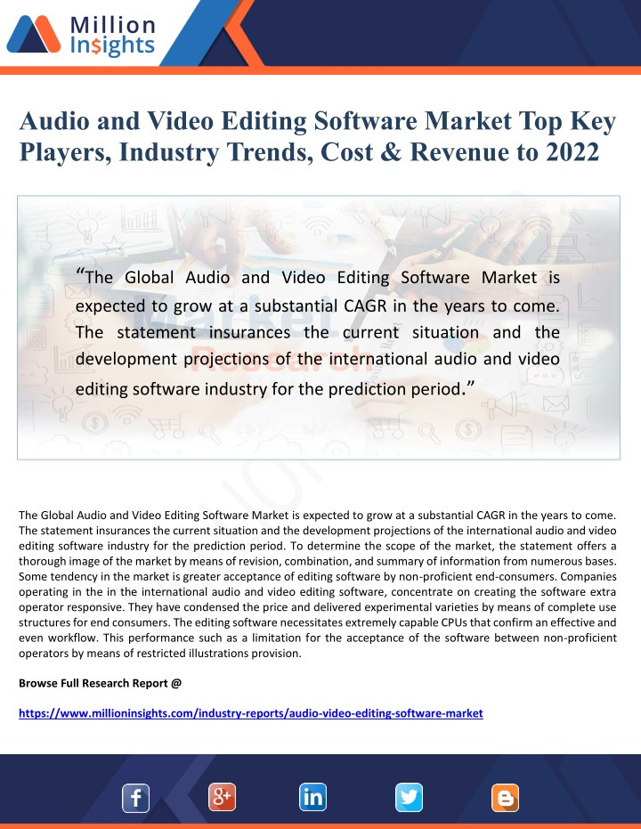 audio and video editing software market n.