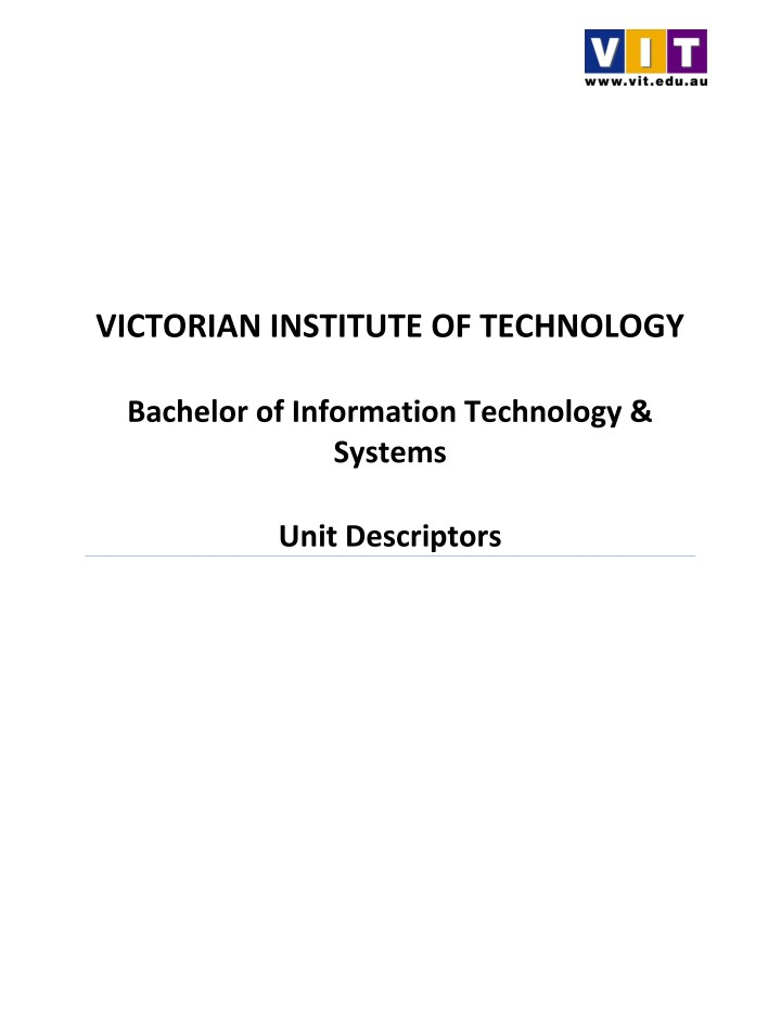 victorian institute of technology bachelor n.