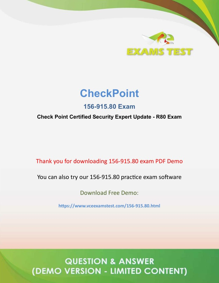 PPT - Get Valid CheckPoint 156-915 80 VCE Exam 2018