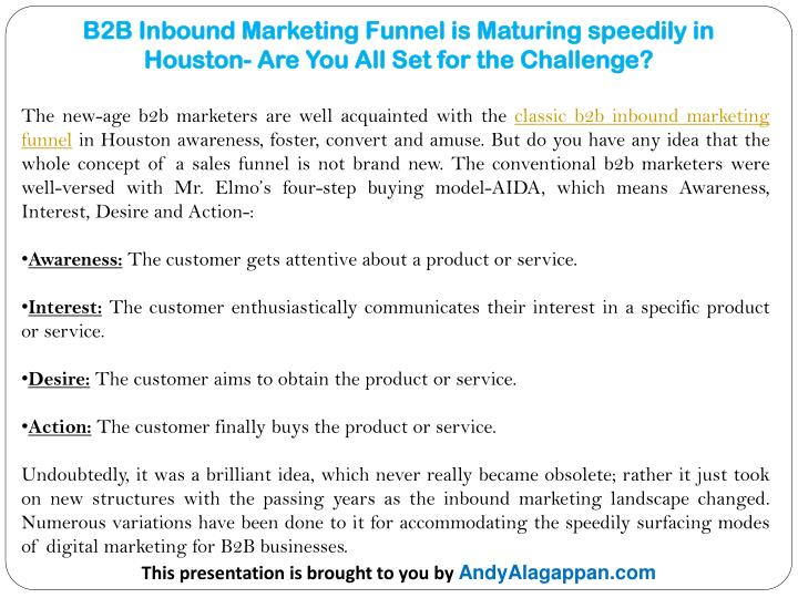 b2b inbound marketing funnel is maturing speedily in houston are you all set for the challenge n.