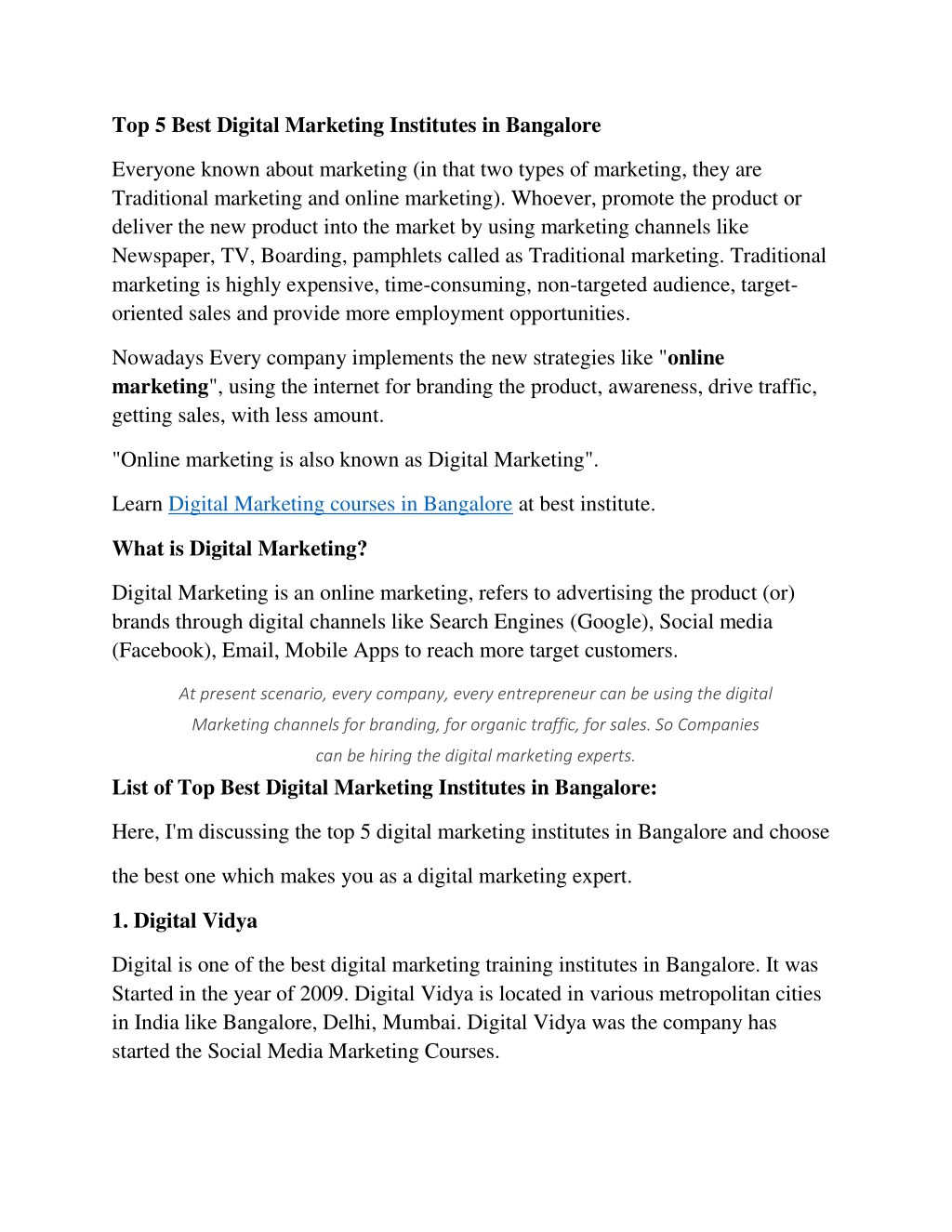 PPT - Top 5 Best Digital Marketing Institutes in Bangalore