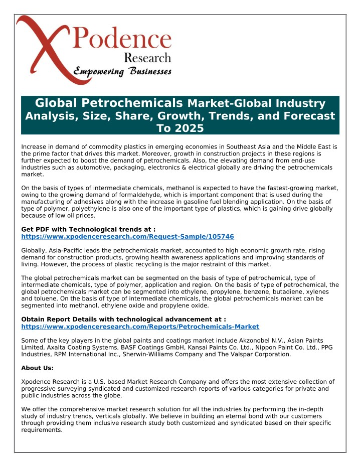 PPT - 2025 Vision for Global Petrochemicals Market PowerPoint