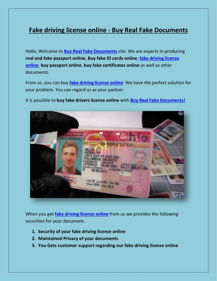 PPT - Fake driving license online - Buy Real Fake Documents