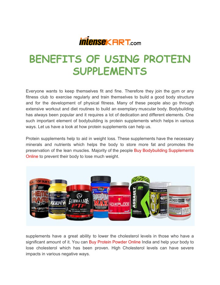 Ppt Benefits Of Using Protein Supplements Powerpoint Presentation