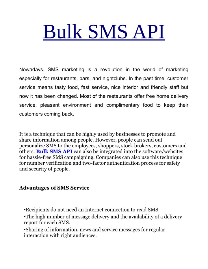 PPT - Free Bulk SMS API Provider In Indore PowerPoint Presentation