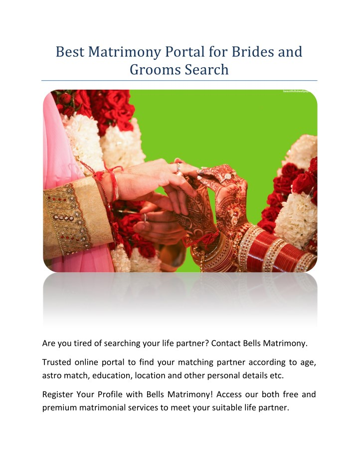 PPT - Best Matrimony Portal for Brides and Grooms Search PowerPoint