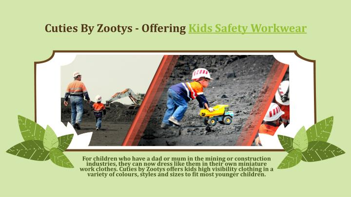 cuties by zootys offering kids safety workwear n.