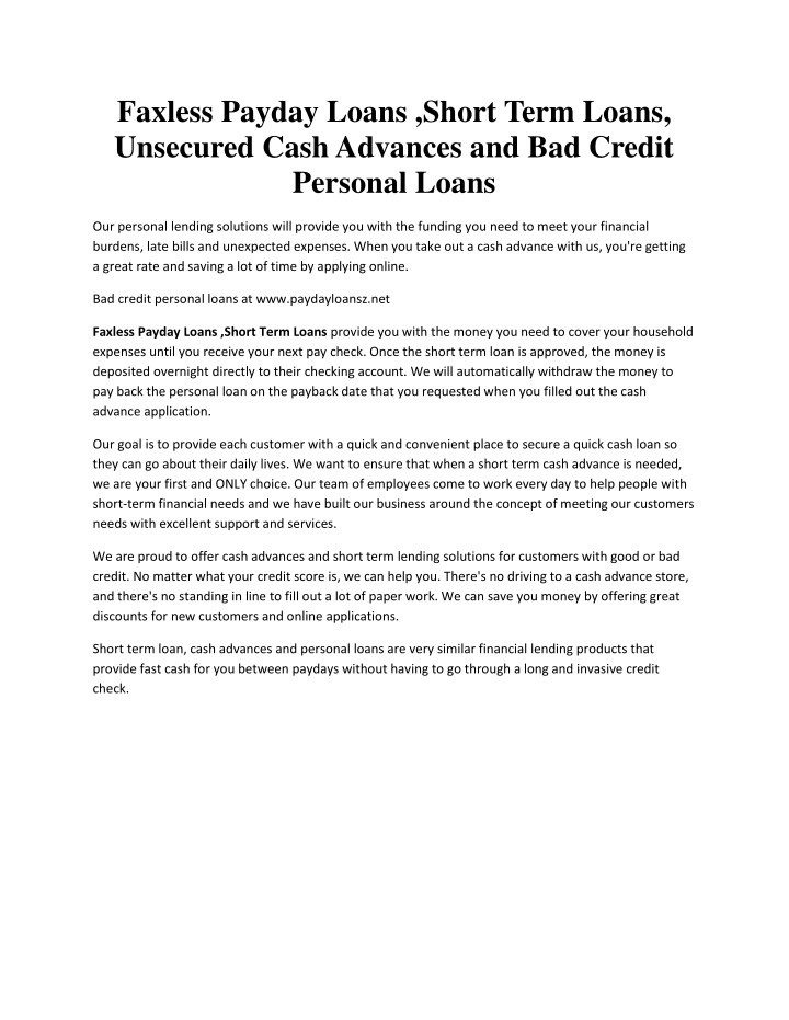 pay day advance lending options which will approve pre pay information