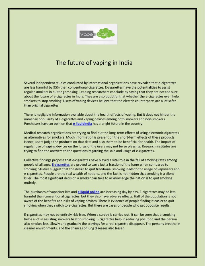 PPT - The future of vaping in India PowerPoint Presentation