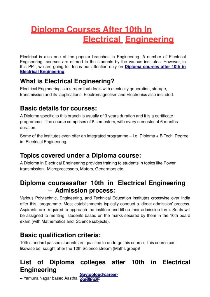 PPT - Diploma Courses After 10th In Electrical Engineering