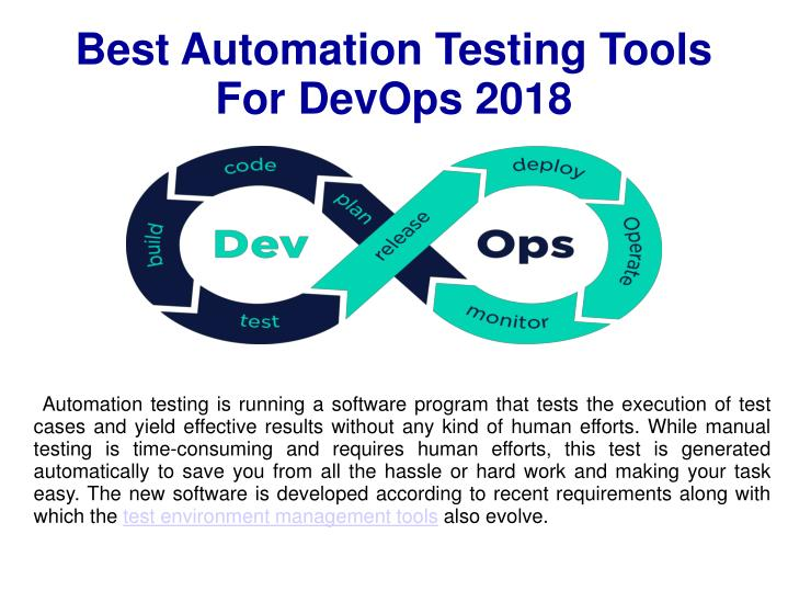 best automation testing tools for devops 2018 n.