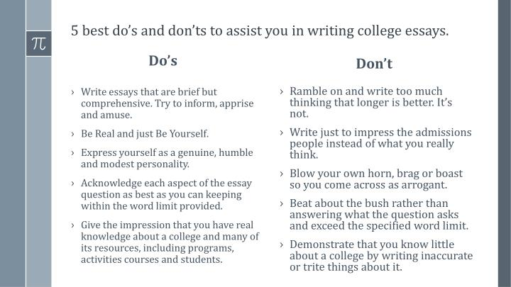PPT - 5 Do's and Don'ts in Writing a College Application Essay ...