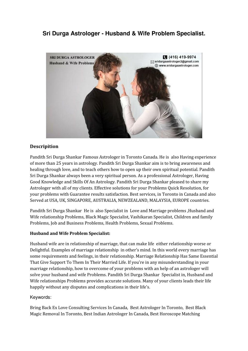 PPT - Sri Durga Astrologer - Husband & Wife Problem Specialist