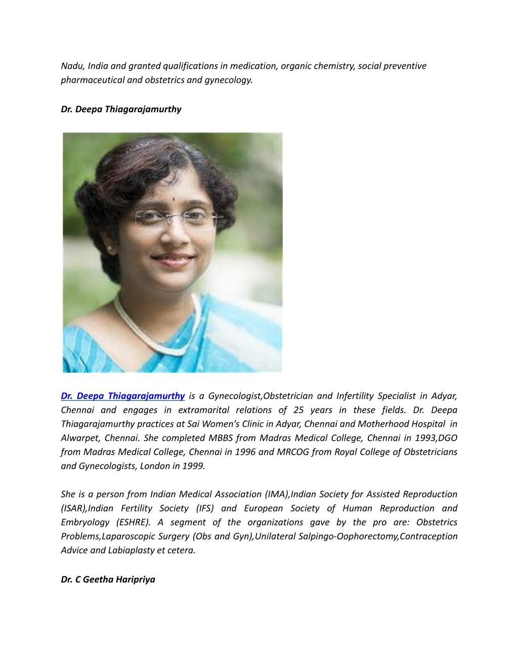 PPT - Best Gynecologists in Chennai | Dr  Geetha Haripriya