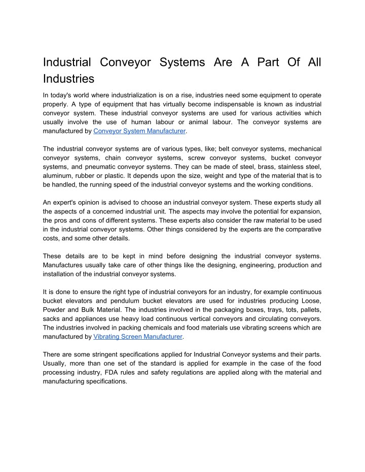 PPT - Industrial Conveyor Systems Are A Part Of All