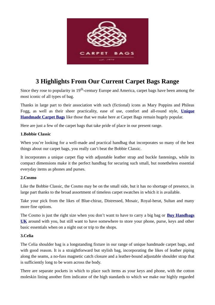 3 highlights from our current carpet bags range n.