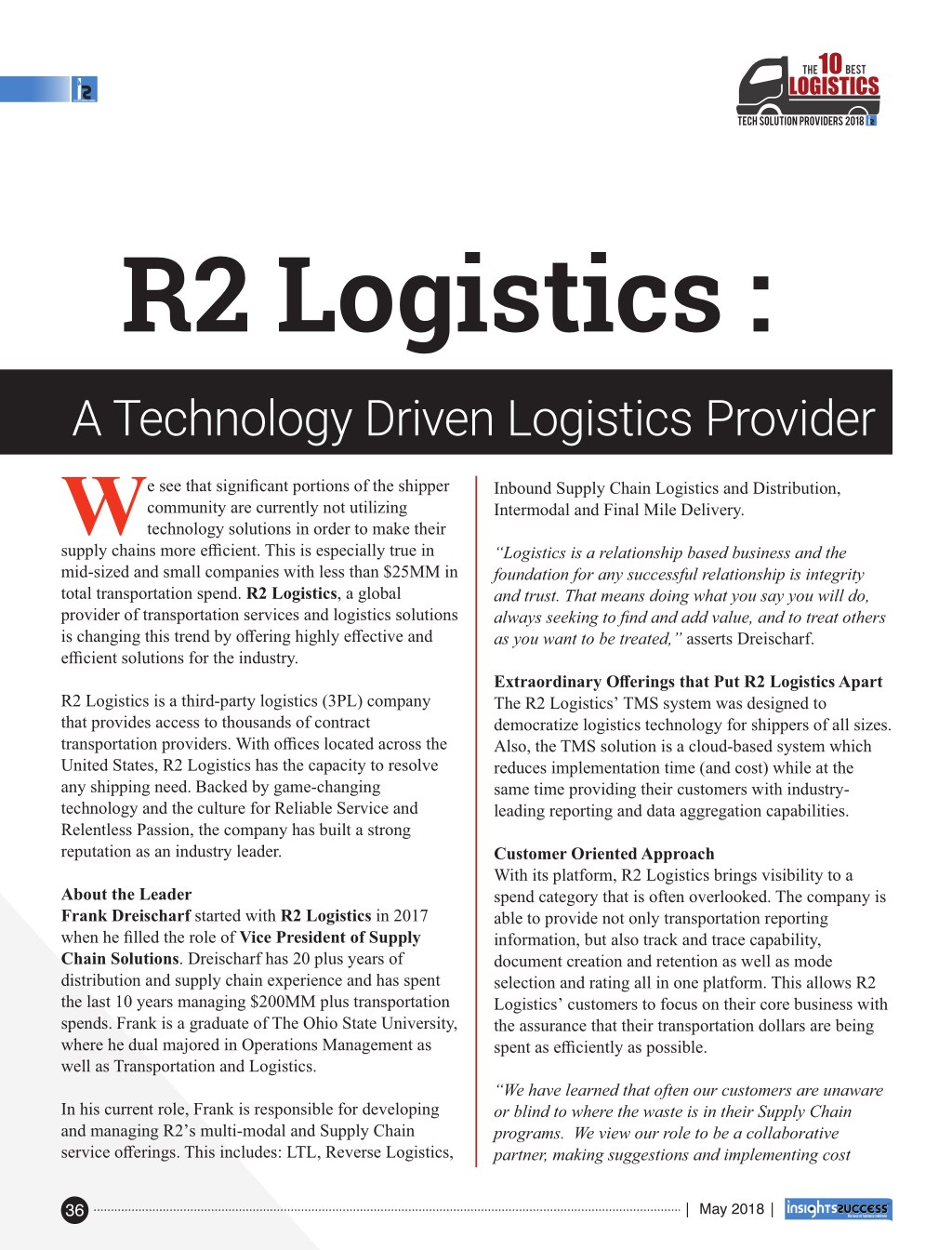 PPT - The 10 Best Logistics Tech Solution Providers 2018