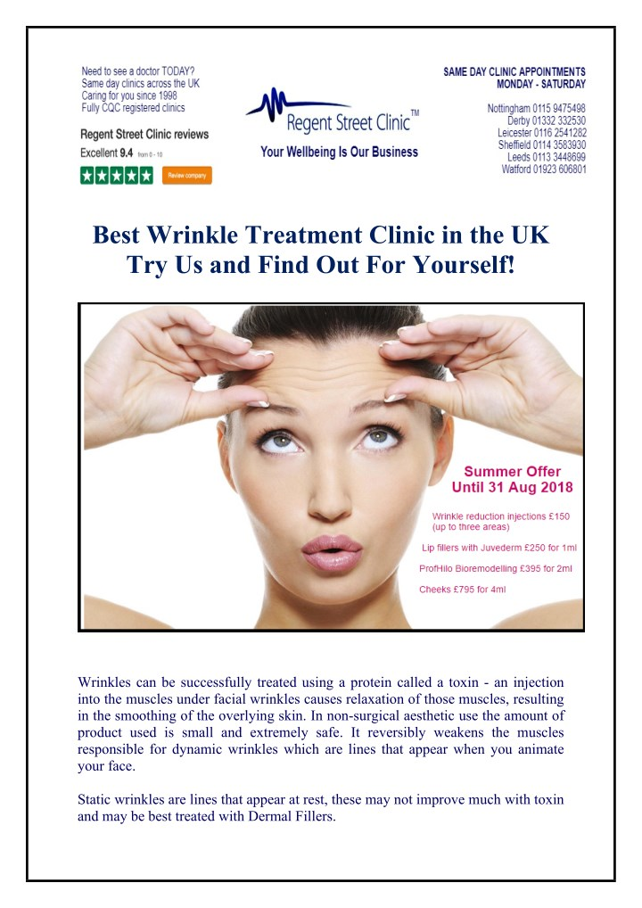 PPT - Best Wrinkle Treatment Clinic in the UK Try Us and