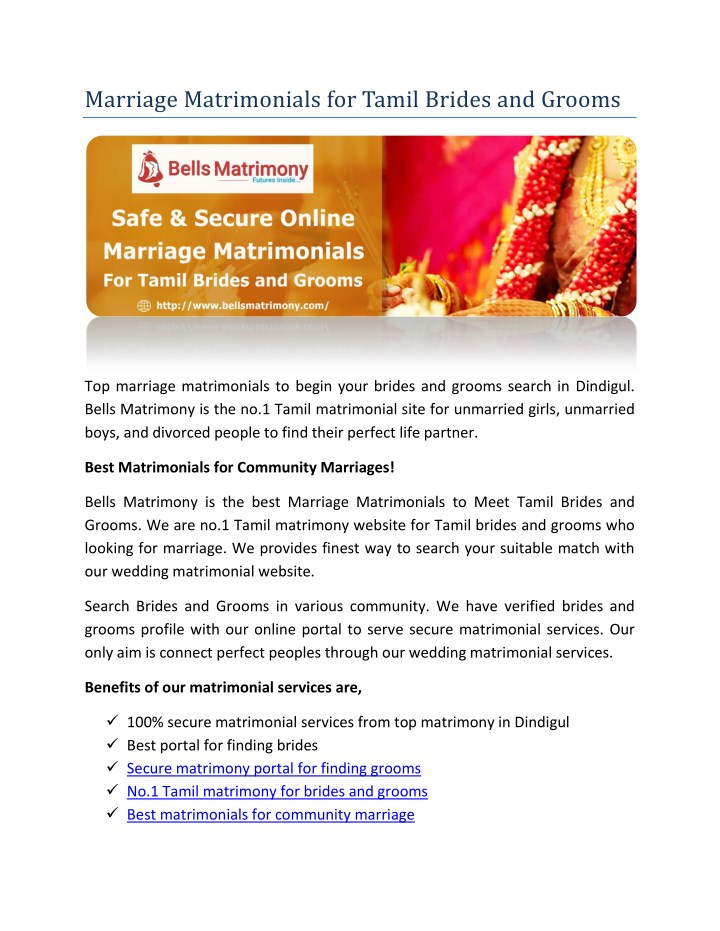 PPT - Marriage Matrimonials for Tamil Brides and Grooms PowerPoint