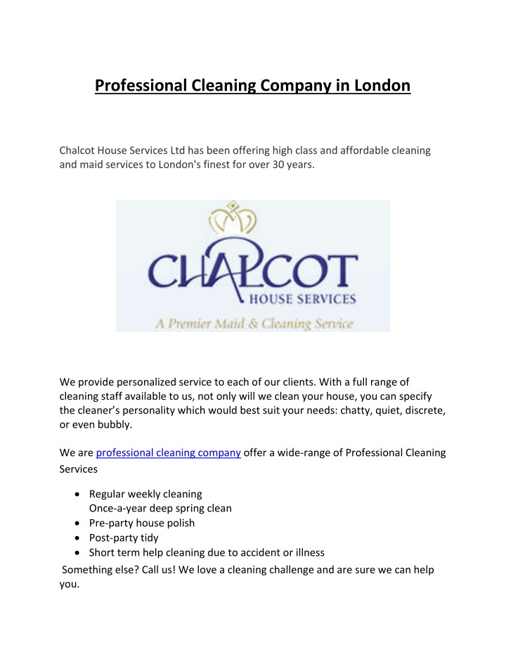 PPT Professional Cleaning Company In London PowerPoint