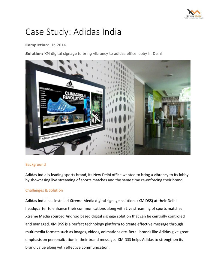case study adidas india completion in 2014 n.