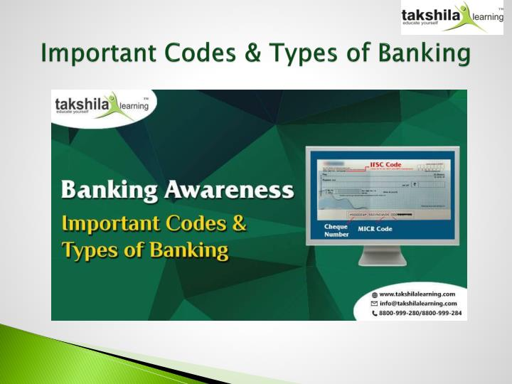 important codes types of banking n.
