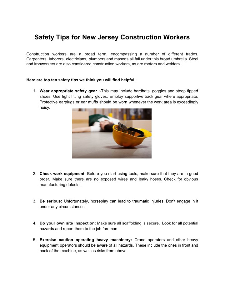 PPT - Safety Tips for New Jersey Construction Workers