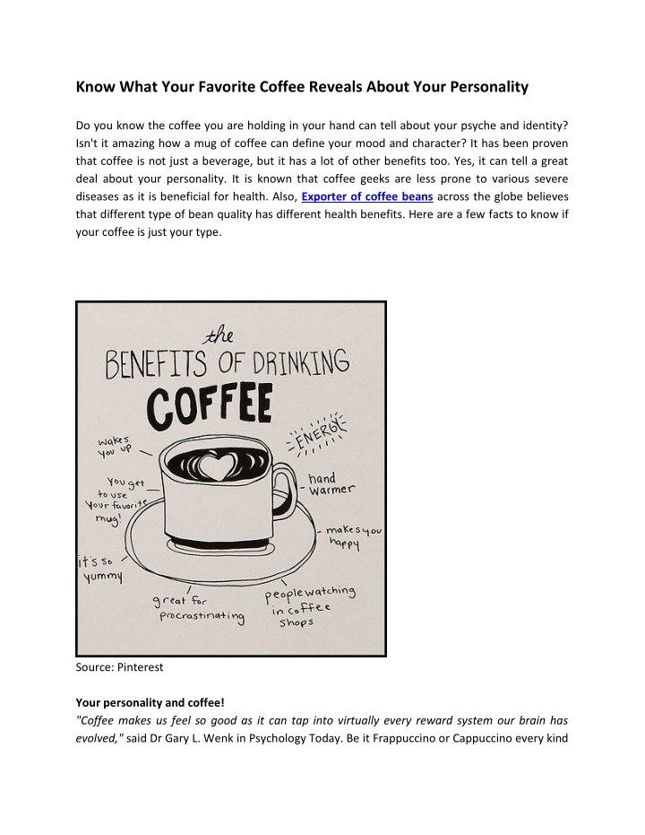 know what your favorite coffee reveals about your n.