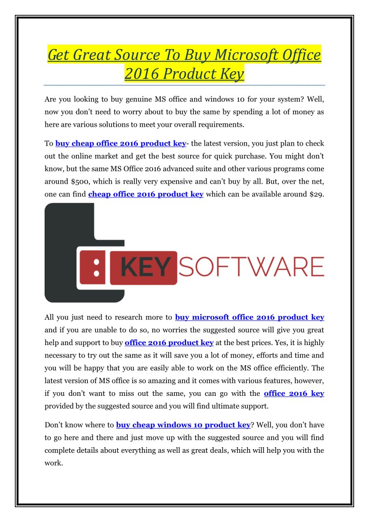 ms office 10 genuine product key