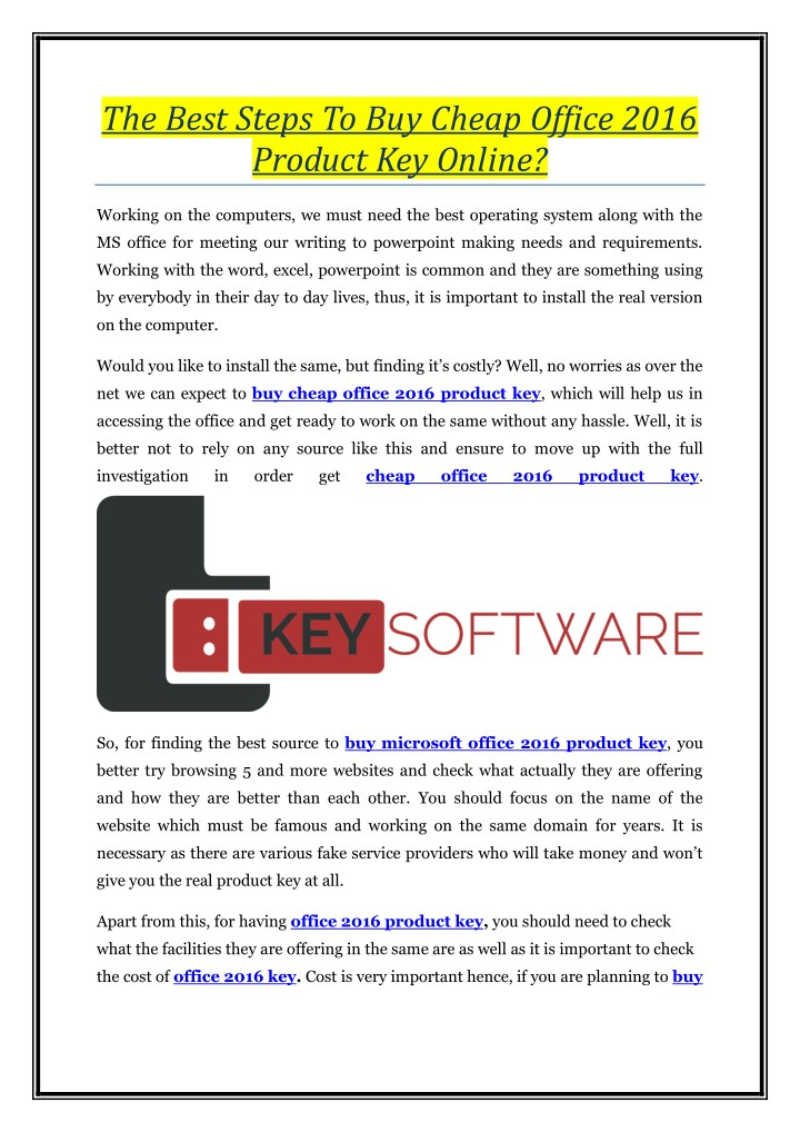 display product key office 2016